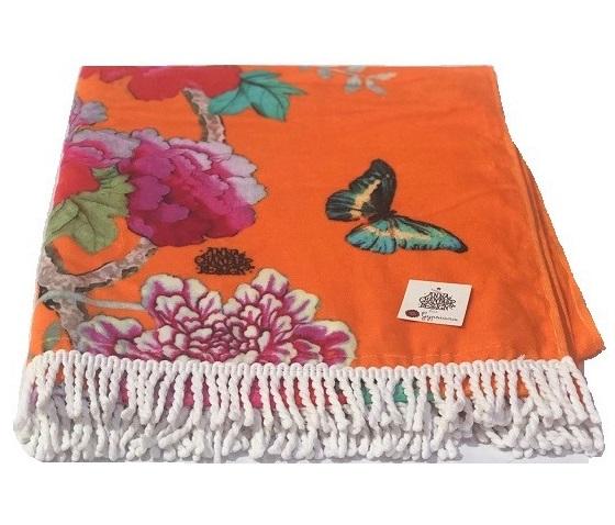 Cotton Beach Towel Orange bird
