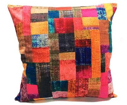Velvet Cushion Square 50 cm in Velvet Patches Design