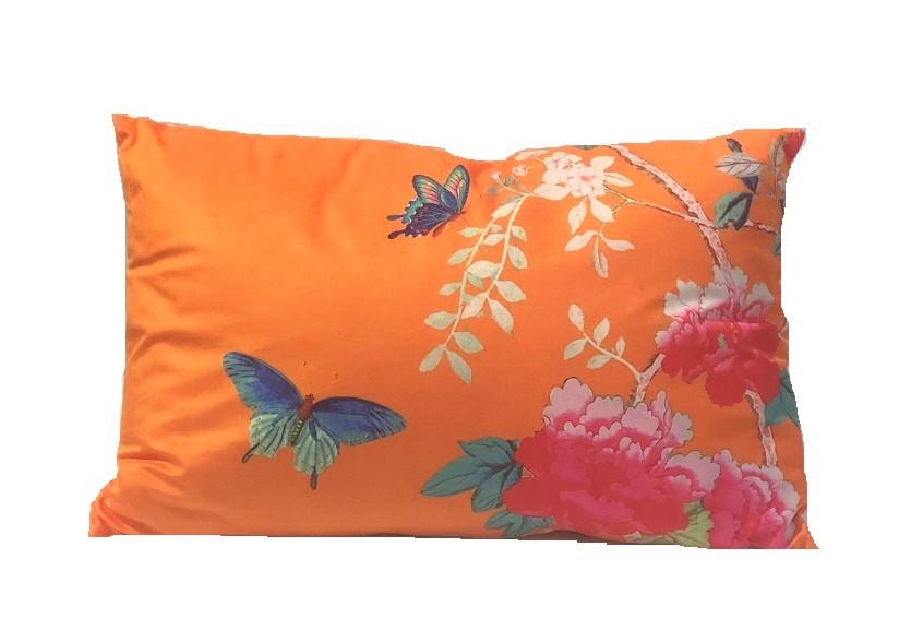 Rectangle Velvet Cushion Orange Bird