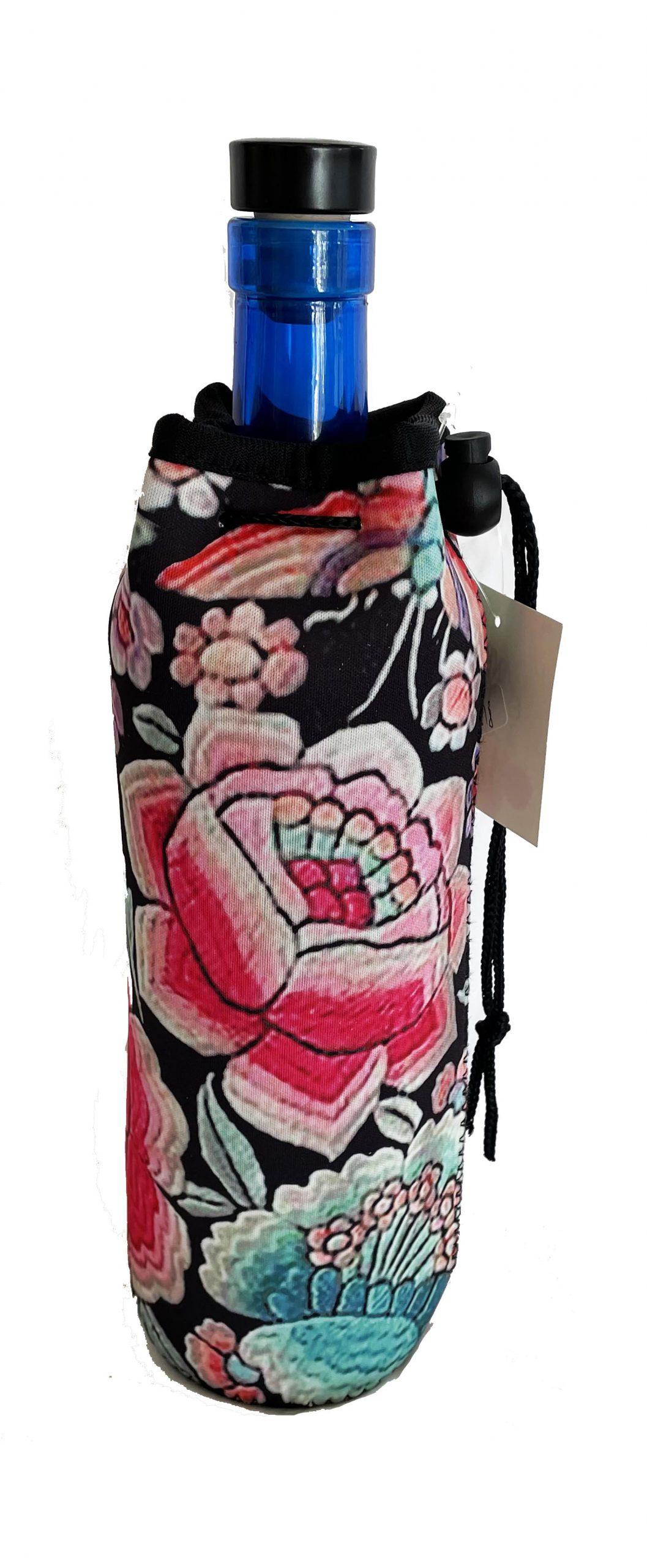 Neoprene Bottle Bag Black and Peonies