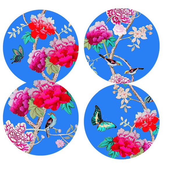 Dessert Plates Cornflower Blue Chinoiseries