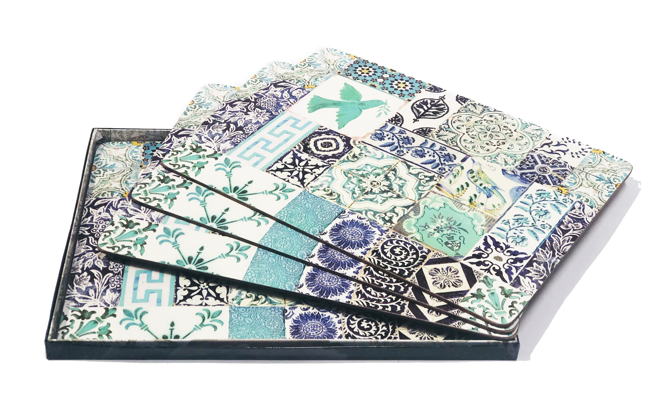 Placemats Cork set of 4 in Blue Turquoise