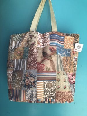 Double Sided Shopping Bag - Verandah vintage patchwork country