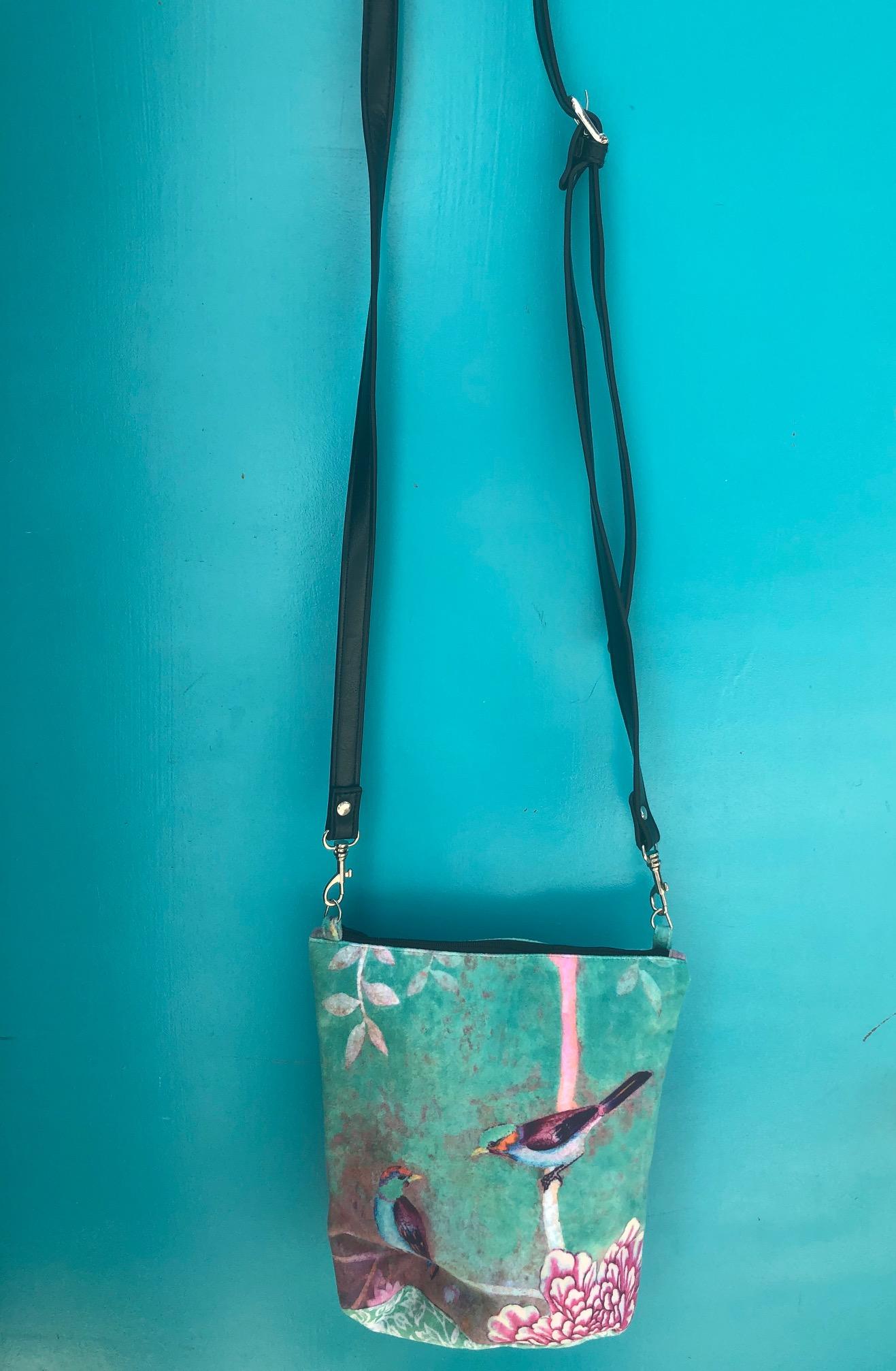 Velvet Shoulder Bag Chinoiseries Green