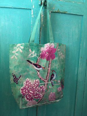 Double Sided Shopping Bag - Chinoiserie green pink flower birds