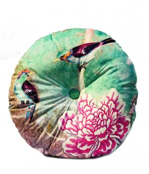 Round Velvet Cushion Chinoiserie green with Birds and Peonies