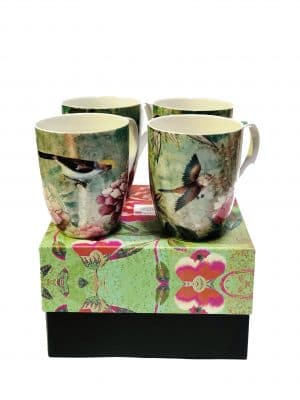 Set of 4 mugs Chinoiserie green