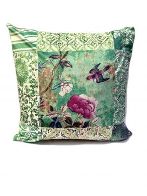 Square Velvet Cushion Celadon Green Priamveara with Bird and Peony 50 cm with insert
