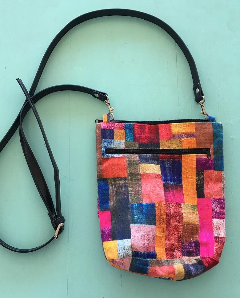 Velvet Bag Leather Handle in Velvet Patches Design