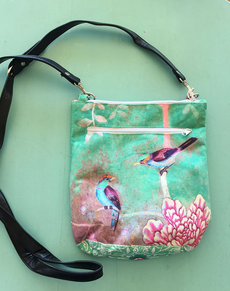 Velvet Bag Leather Handle Green Chinoiserie