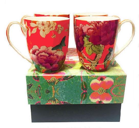 Mugs Set of 4 Watermelon Red Bird