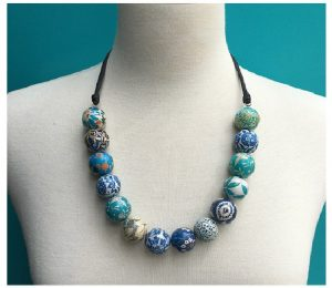 Patchwork Necklace Blue and Turquoise