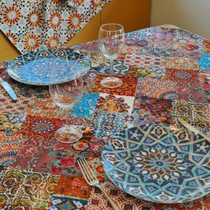 Patchwork Carpet Tablecloth : Blue Tile Plates Square Featured Items Image