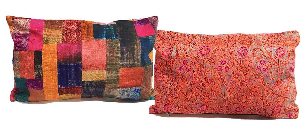 Double Sided Velvet Cushion in Velvet Patches design 40 x 26 cm