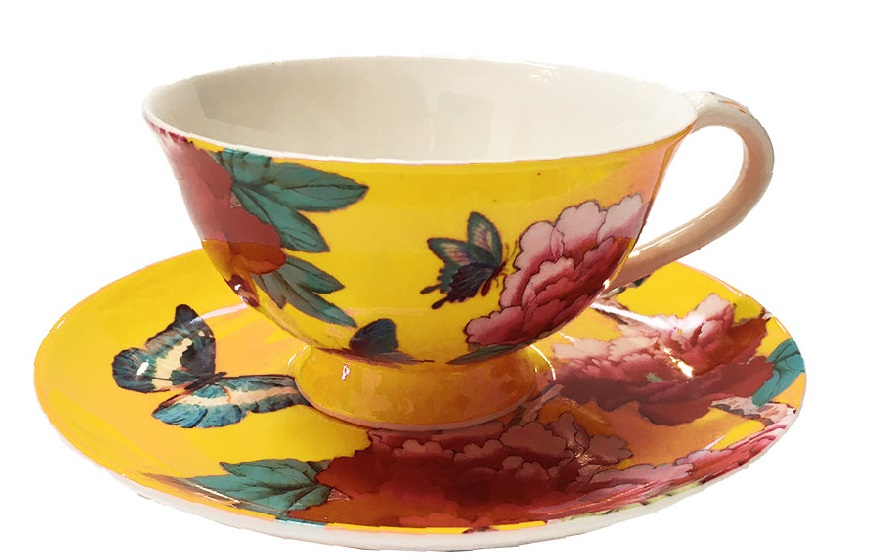 Tea Cup and Saucer in Saffron Yellow