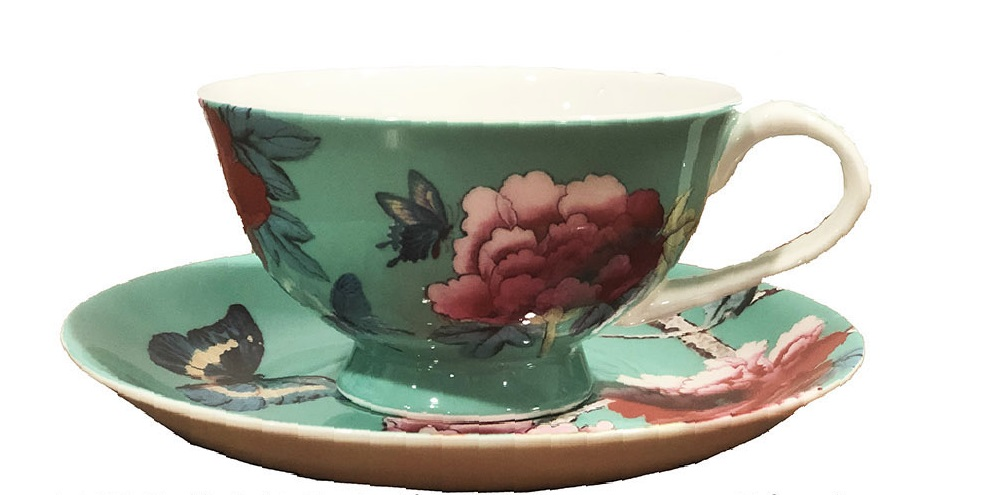 Tea Cup and Saucer in Mint Green