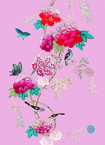 cotton Tea Towel Pink Bird