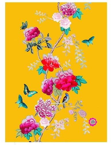 Cotton Tea Towels Saffron Yellow Birds and Peonies