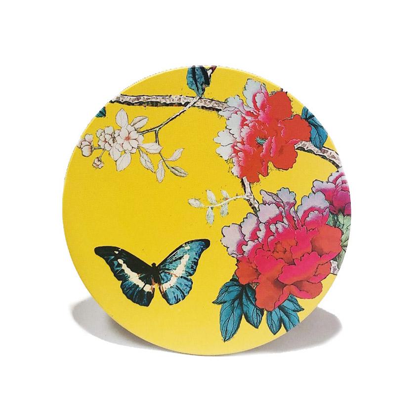 Ceramic Trivet Saffron Yellow Bird