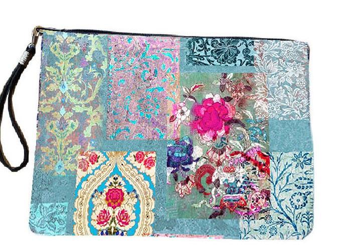 Venezia Turquoise Clutch Bag Velvet