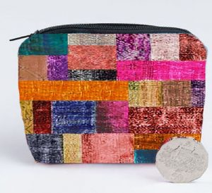 Velvet Coin Purse in Patches Design Purple Plum and Olive green