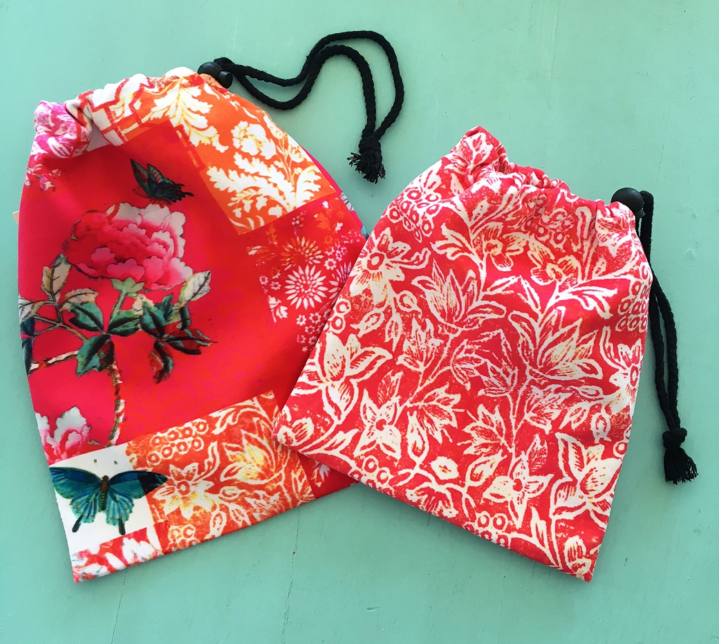 Drawstring Bags set of two Watermelon red