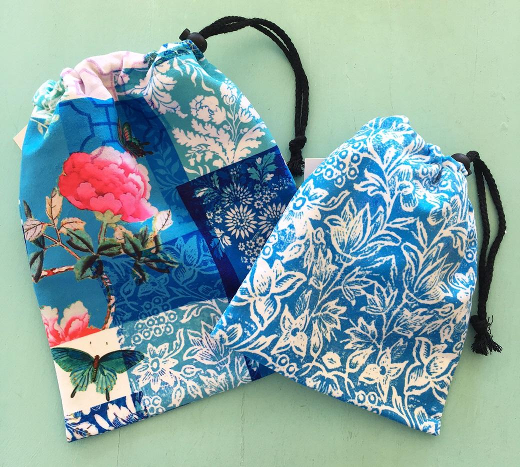 Drawstring Bags set of two blue