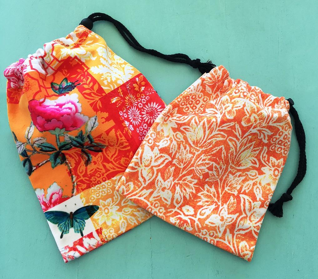 Drawstring Bags set of 2 Tangerine Orange