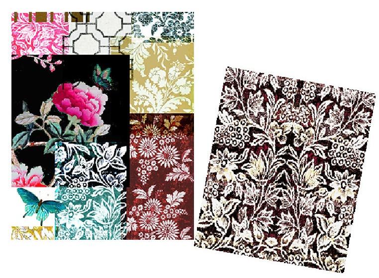 velvet drawstring bag set in Black Gazebo Pattern