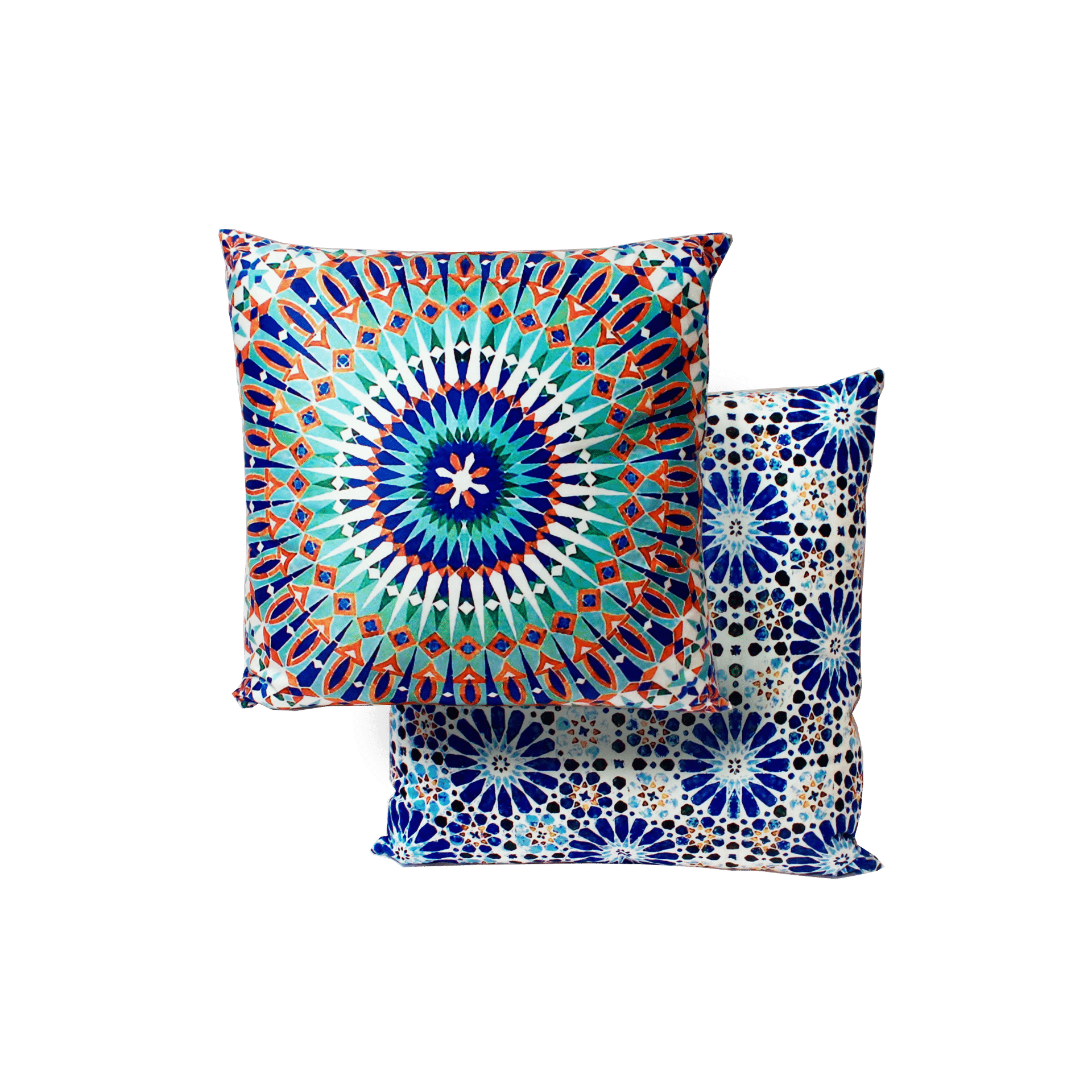 Moroccan Scroll Tile Light Blue Handmade Persian Style: Velvet Cushion Square